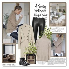 """A sunday well spent brings a week of content!!"" by lilly-2711 ❤ liked on Polyvore featuring The Row, rag & bone, Nearly Natural, Karen Millen, CÉLINE, Tod's, celine, leatherpants, ankleboots and coat"