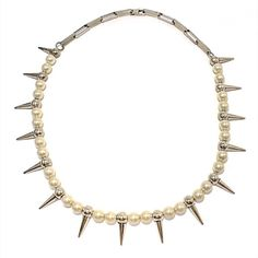 LEXYAiR I.N.C. JEWELRY — Tibetan #silver spikes and cultured #pearl...