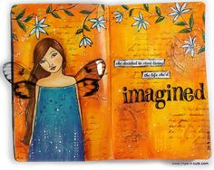 Amazing art journal page by vickypgr and penny black stamps