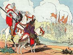 """Donn P. Crane Illustration from Children's Book """"Don Quixote"""", Gustave Dore, Pablo Auladell, Dom Quixote, Walter Crane, Classic Comics, Vintage Children's Books, Book Publishing, Golden Age, Childrens Books"""