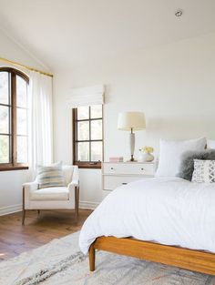 Modern bedroom design with bohemian style and a neutral color scheme of white, gray, and beige - Bedroom Ideas & Decor