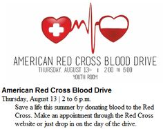 Red Cross Blood Drive, Aug 13, 2p-6p. Glen Carbon Library, 198 S Main St http://glencarbonlibrary.org/