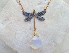 Dragonfly Necklace w/ Opalite - Dark Green Dragonfly Choker with Opalite Crystal and Gold Tone Bar Chain - Hand Painted Dragonfly Jewelry