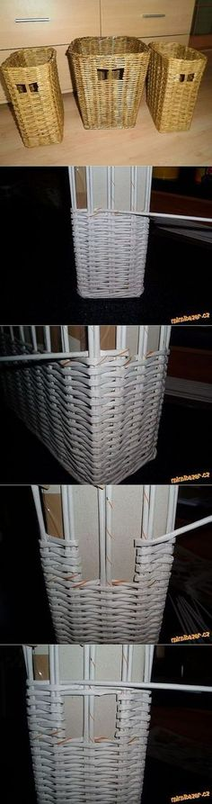 Laundry baskets from newspapers. Paper Basket Weaving, Weaving Art, Newspaper Basket, Newspaper Crafts, Home Crafts, Diy And Crafts, Magazine Crafts, Cardboard Crafts, Hobbies And Crafts
