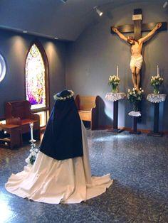 A Carmelite nun on her veiling day.
