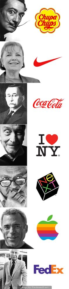 7 logos famosos y cómo fueron creados: Salvador Dali / Chupa Chups. Carolyn Davidson / Nike. Frank Mason Robinson / Coca-Cola. Milton Glaser / I Love NY.  Paul Rand / NeXT, Rob Janoff / Apple. Walter Landauer / FedEx.