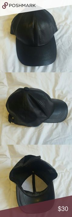 Genuine leather black baseball cap No flaws. Genuine leather. Adjustable back.  Not from Rag & bone but similiar to styles found there rag & bone Accessories Hats