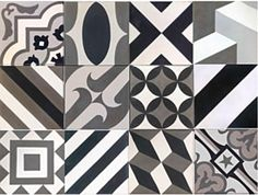 black white gray patterned floor tile cubic mixed brazilian - Google Search