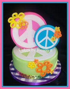 Peace Sign Cake-flowers by the peace sign
