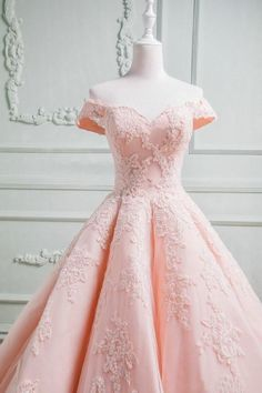 Elegant Pink Off Shoulder Tulle Ball Gown | Fashiondressy Quinceanera Dresses Blush, Pink Party Dresses, Cute Prom Dresses, Quince Dresses, Pretty Dresses, Teen Dresses, Dresses Dresses, Fashion Dresses, Bridesmaid Dresses