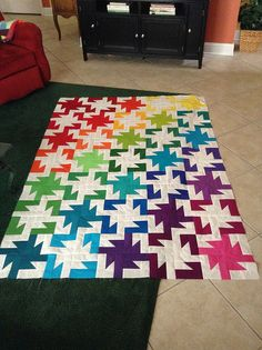 "Sparkle Quilt Top - an ""easy"" 4 block. 1/3 = color 1, 2/3 Square color 2 block, half-square triange, Square color 1 block, 3/3 color 2"