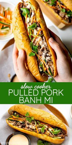 Vietnamese pulled pork banh mi features Vietnamese baguette (banh mi) filled with tender and flavorful pulled pork, pickled vegetables, and tasty sriracha mayo sauce. With a slow cooker to cook the pulled pork, this delicious banh mi recipe cannot Slow Cooker Pork, Slow Cooker Recipes, Crockpot Recipes, Cooking Recipes, Cooking Games, Roast Recipes, Banh Mi Recipe, Banh Mi Sandwich, Vietnamese Sandwich