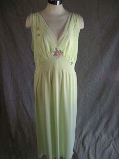 0f23def818 Vtg 60s Long Green Nightgown Chiffon Bodice Hem Embroidered Roses 40 XL