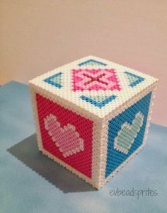 Pink and blue heart coin bank #perler #evbeadsprites