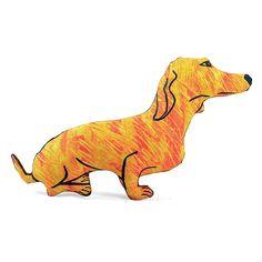 decorative pillow, dog pillow, animal pillow, dachshund dog shaped pillow softie yellow orange batik fabric by pattihaskins on Etsy