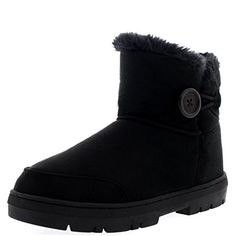 Womens Button Mini Fur Lined Warm Shoes Winter Flat Snow Rain Boots - 8 - BLA39 EA0295 *** For more information, visit image link.
