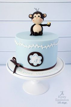 Cheeky Monkey Christening Cake (topper design credit Margie Carter)