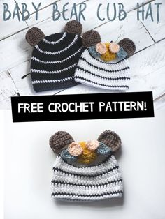 Baby Bear Crochet Hat Free Pattern -Megmade with Love