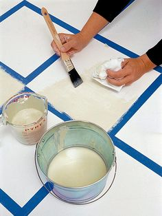Painted floor Family Room Decorating Ideas - Before & After Wood Flooring Photos. DIY Home Decor image Mosaic Painted Floors - How to me. Painted Concrete Floors, Painting Concrete, Floor Painting, Diy Flooring, Kitchen Flooring, Flooring Ideas, Floor Cloth, Floor Rugs, Stenciled Floor