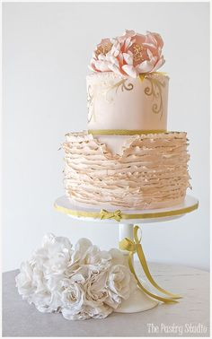 Ballet Pink & Gold tipped Ruffled-Floral Wedding Cake / http://www.deerpearlflowers.com/32-wedding-cakes-with-classical-details/