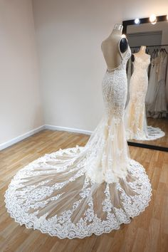 For daring brides who want to make a bold statement from the back, this creamy fit and flare wedding dress is perfect! Fit And Flare Wedding Dress, Custom Wedding Dress, Backless Mermaid Wedding Dresses, Spaghetti Strap Dresses, Here Comes The Bride, Retro Dress, Lace Applique, Bridal Gowns, Brides
