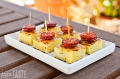 Spanish Tortilla Bites with Grilled Chorizo Sausage - a party-ready recipe for tortilla de patatas - the classic Spanish potato omelet