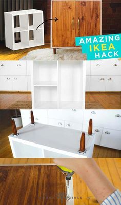 Take IKEA to the next level with this incredible KALLAX makeover! Loving the mid-century modern look of this beautiful storage/organization hutch. Click the image for more info on how to make this! Ikea Furniture Makeover, Painting Ikea Furniture, Ikea Makeover, Ikea Furniture Hacks, Retro Furniture, Furniture Movers, Furniture Removal, Furniture Online, Furniture Stores