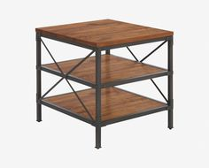 Scandinavian Designs - The Insigna end table commands presence with its gorgeous rustic industrial style. Shelves expertly crafted from solid American poplar are supported by a powder-coated metal frame. A natural antique stain highlights the beauty of the woodgrain.