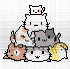 46 ideas cats diy crafts perler beads – Famous Last Words - Katzen Pixel Art Chat, Pixel Art Grid, Beaded Cross Stitch, Cross Stitch Embroidery, Cross Stitch Patterns, Perler Bead Art, Perler Beads, Hama Beads Disney, Pixel Drawing