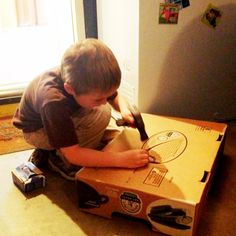 """Cure for the """"I'm bored"""" blues for boys! A sturdy box (ours was left over from a Costco trip), a box of nails, and a hammer is all it took to keep my 7 year old busy FOR OVER AN HOUR.    You're welcome ;)"""