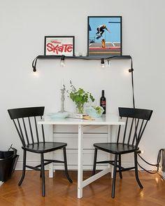 mesa de desmontar - solução para quitinete - preto e branco na decoração - sala de jantar pequena