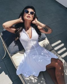 Shop sexy club dresses, jeans, shoes, bodysuits, skirts and more. White Dresses For Women, White Women, Nice Dresses, Ladies White, Blouse Dress, Knit Dress, Dress Skirt, Crochet Fashion, Handmade Clothes