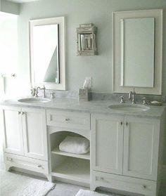 simple bathroom vanity with shaker doors