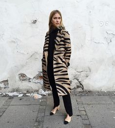 Casual Coating With Zebra Stripes - The You Way