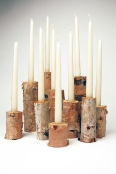LOVE this for our fireplace!!!    Steven is always inspired by nature; in this DIY he uses pieces of wood as the starting point for three inspired DIY ideas.1. Birch Candlestick HolderSuppliesBirch logsDrill & spade bit (Note: Bit will need to be the width of your...