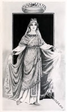 Byzantine Costume History. Costume of noble lady, 6th century