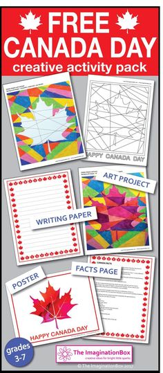 Canada Day Coloring Pages - Free Maple Leaf Art Canada Day 150, Canada Day Party, Happy Canada Day, Creative Activities, Craft Activities For Kids, Crafts For Kids, Cool Art Projects, Projects For Kids, Canada Day Crafts