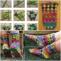 Entrelac Knitted Rainbow Socks - Million Ideas Club Finger Knitting, Arm Knitting, Knitting Socks, Knitting Patterns, Crochet Patterns, Knitting Tutorials, Stitch Patterns, Knitted Socks Free Pattern, Crochet Socks