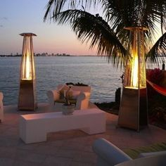 Warm your space with a patio heater that exudes romance as well as heat.