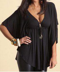 Elegante escote color sólido Loose-Montaje de 1/2 de la manga de la camiseta para las mujeres