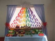 wizard of oz party- simple streamer rainbow backdrop