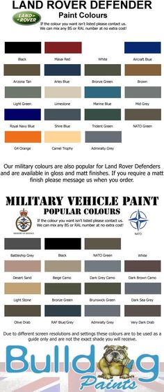 land rover defender paint colours chart - Google Search