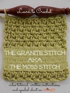 Easy Homesteading  Granite Stitch or Moss Stitch - Crochet DIY Simboli  Fatti All uncinetto 1a9c7807e486