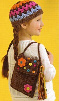 Little girl's Crochet hat and matching purse