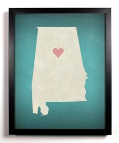 State Love Alabama Home Kitchen Nursery Bath Dorm Office Heart Place, Adoption Gifts, Elephant Wall Art, Bff Gifts, Teacher Gifts, Black And White Posters, Custom Map, Personalized Wedding Gifts, White Elephant Gifts