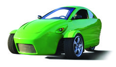 Elio Motors is an American startup automaker founded in 2008. The three wheeler is projected to feature heater, defroster, air conditioning, power windows and door locks, stereo, two person seating capacity (one in front, one in back), three airbags, a reinforced roll cage, side intrusion beams, seat belts, windshield wipers, stability control, and ABS. __ http://en.wikipedia.org/wiki/Elio_Motors
