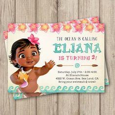 MOANA BIRTHDAY INVITATION, Baby Moana Invitation, Baby Moana Birthday Party Invitation, Girl Moana Party, Digital Invitation 5x7 by kimberlyjdesign on Etsy https://www.etsy.com/listing/518389272/moana-birthday-invitation-baby-moana