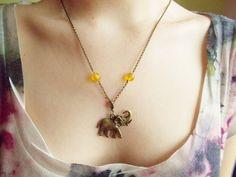 Elephant charm statement bib necklace modern by 10dollarjewellery