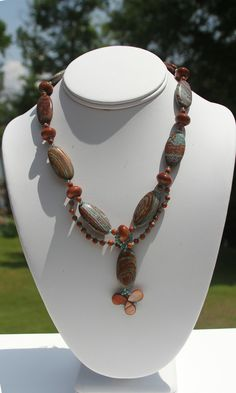 Jasper and Goldstone necklace by kimjustice on Etsy, $40.00