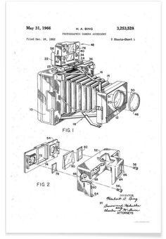 Polaroid Camera Accessory, Patent 1966 als Premium Poster von Vintage Art Archive | JUNIQE
